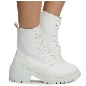 White lug sole combat boot